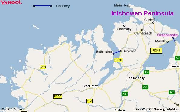 Map Of Co Donegal Ireland In The S Map Of Inishowen Ireland on